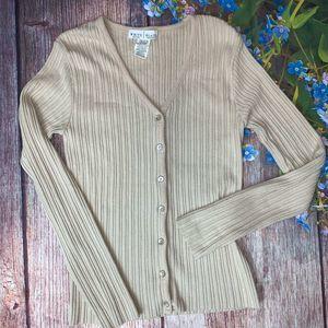 White House Black Market Tan Cardigan Sweater Med